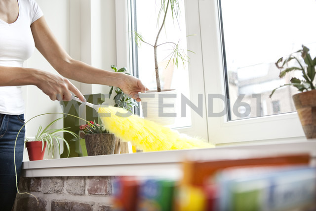 Woman cleansing windowsill with feather duster - MFRF000350 - Michelle Fraikin/Westend61