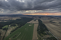 Germany, aerial view of Nothern Harz foreland at evening twilight - PVCF000606