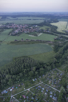 Germany, aerial view of Devil's Wall near Weddersleben at evening twilight - PVCF000539