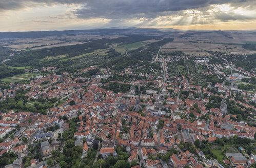 Germany, aerial view of Quedlinburg  in the evening - PVCF000549