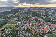 Germany, aerial view of Quedlinburg with collegiate church in the evening - PVCF000573