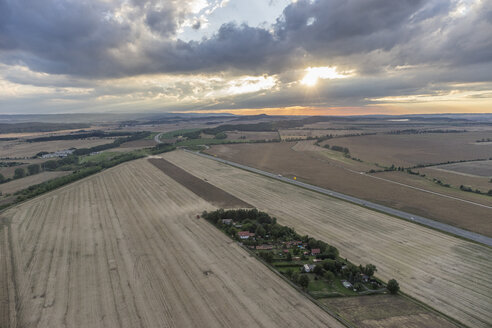 Germany, aerial view of fields near Quedlinburg in the evening - PVCF000579