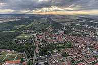 Germany, aerial view of Quedlinburg in the evening - PVCF000586