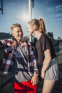 Two happy teenagers outdoors - AIF000035