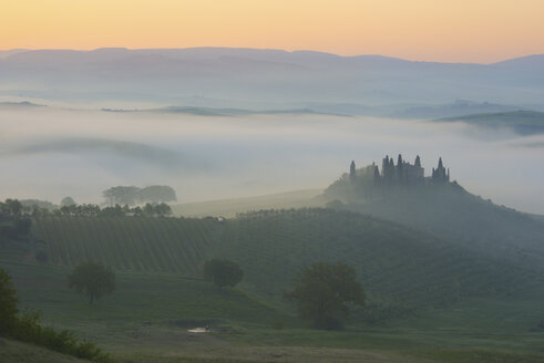 Italy, Tuscany, San Quirico d'Orcia, view to rolling landscape at sunrise in the fog - LOMF000045