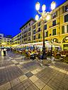 Spain, Mallorca, Palma de Mallorca, Placa Major at blue hour - AM004126