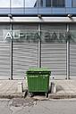 Greece, Thessaloniki, Garbage bin in front of Alpha Bank - VI000367