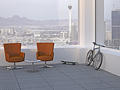 Modern meeting room with two swivel chairs, skateboard and mountain bike, 3D Rendering - UWF000590
