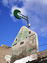 Morocco, green half moon attached at building - JMF000357