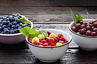 Three bowls sour cherries, raspberries and blueberries on dark wood - CSF026132