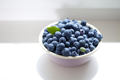 Bowl of blueberries on window sill - CSF026111