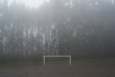Spain, muddy soccer field in winter - RAEF000291