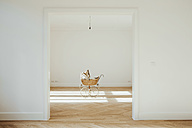 Pram in empty room, open doors - CHAF001053