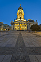 Germany, Berlin, view to lighted German Cathedral at Gendarmenmarkt - RJF000482