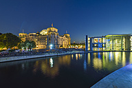 Germany, Berlin, view to Reichstag and Paul Loebe Building at dusk - RJF000480