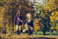 Mother and daughter playing with dry leaves in autumnal park - CHAF001073