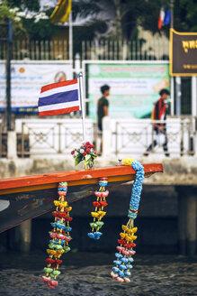 Thailand, Bangkok, decorated ferry boat at Chao Phraya River - EHF000120
