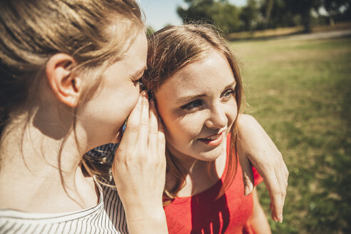 Two teenage girls whispering in park - AIF000047