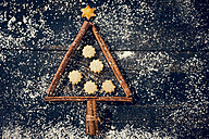 Cinnamon sticks and cookies shaped like a Christmas tree - MAEF010989