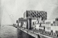 Germany, Cologne, view to Crane houses at Rheinau harbour - DWI000574