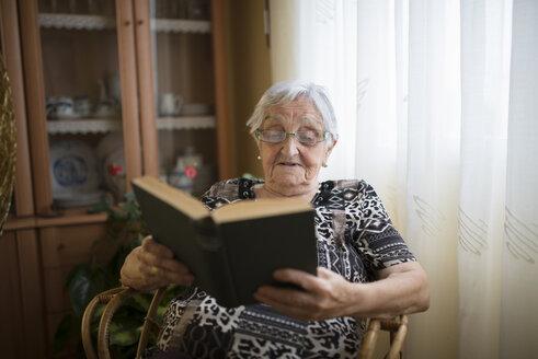 Senior woman reading a book at home - RAEF000315