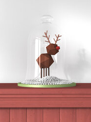 Reindeer toy under bell jar standing on wooden wall cladding - AHUF000048