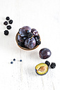 Fresh plums and blackberries, bowls - MYF001109