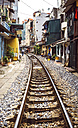 Vietnam, Hanoi, residential houses besides the railway track - EH000163