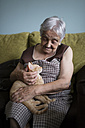 Senior woman stroking kitten lying on her lap - RAEF000339