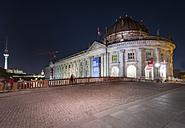 Germany, Berlin, Bode Museum with Monbijou Bridge and TV-Tower at night - NK000357