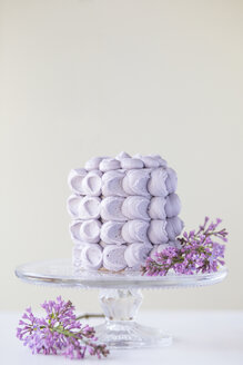 Fancy cake coated with purple meringues and blossoms of lilac on cake stand - ASCF000327
