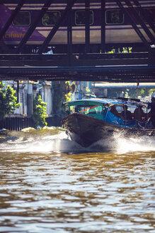 Thailand, Bangkok, Water bus under railway bridge - EH000208