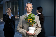 Smiling businessman holding tangerine tree with businesswoman in background - TOYF001234