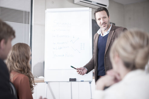 Businessman at flip chart talking to colleagues - ZEF007149