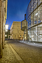 Germany, Berlin, narrow cobblestone street between historic and modern facades of German Historic Museum - NK000373