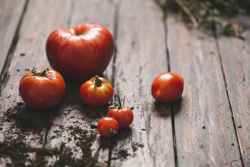 Tomatoes on wooden background - AKNF000011