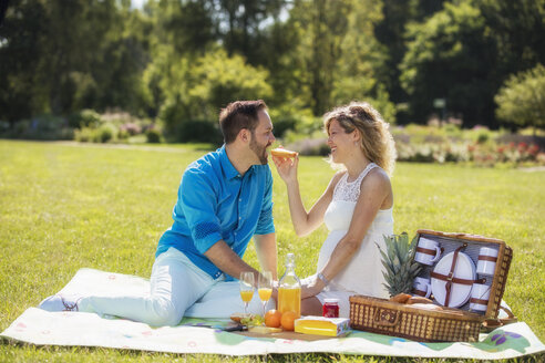 Happy couple having a picnic in park, pregnant woman - ROMF000156