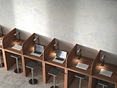 Row of work places with laptops, 3D Rendering - UWF000601