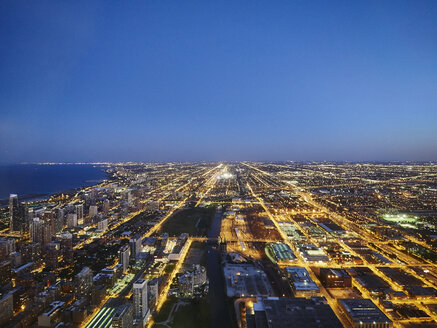 USA, Illinois, Chicago, View from Willis Tower, blue hour - DISF002178