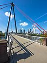 Germany, Hesse, Frankfurt, Financial district, Holbeinsteg bridge over Main river - AMF004153