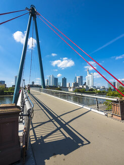 Germany, Hesse, Frankfurt, Financial district, Holbeinsteg bridge over Main river - AMF004153