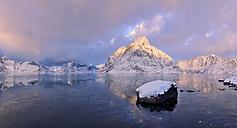 Norway, Olstind, Reine, Reinefjord, Lofoten, Olstind mountain near sunset - RUEF001627