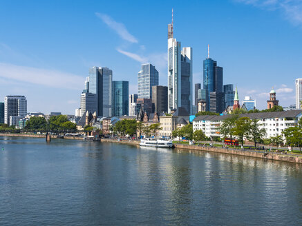 Germany, Hesse, Frankfurt, Skyline of financial district, Main river - AMF004162