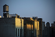 USA, New York City, Old water tanks on rooftops in East Village - ONF000853