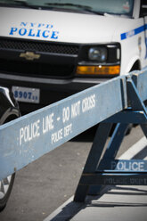 USA, New York City, NYPD car and road barrier - ON000891