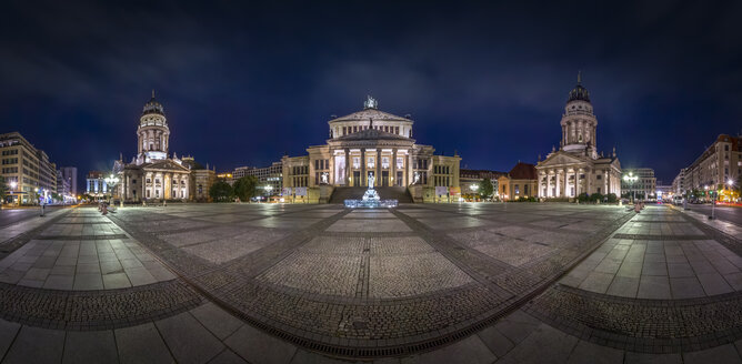 Germany, Berlin, panoramic view of Gendarmenmarkt by night - NKF000393