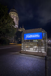Germany, Berlin, underground sign at Gendarmenmarkt by night - NKF000396