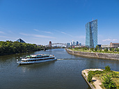 Germany, Frankfurt, European Central Bank with tourboat on River Main - AM004176
