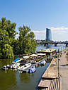 Germany, Frankfurt, swimming restaurants on River Main with European Central Bank in the background - AMF004184