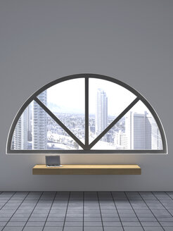 Laptop on wooden bench under a round arch window, 3D Rendering - UWF000608